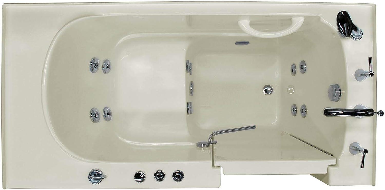 Meditub 3060WIRBH 30x60 Right Drain Biscuit Whirlpool Jetted Walk-In Bathtub