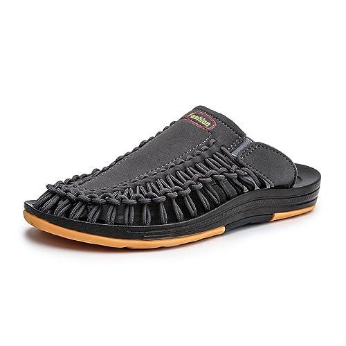 ZFNYY Sandalias Tejidas a Mano de Verano para Hombres Sandalias de Playa Antideslizantes Zapatillas Personalizadas al Aire Libre: Amazon.es: Zapatos y ...