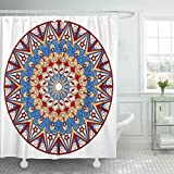 Emvency Fabric Shower Curtain with Hooks Abstract Colorful Round Ethnic Pattern Ancient Arab Arabesque Arabian Arabic Bright 60''X72'' Decorative Bathroom Treated to Resist Deterioration by Mildew