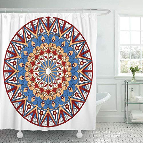 Emvency Fabric Shower Curtain with Hooks Abstract Colorful Round Ethnic Pattern Ancient Arab Arabesque Arabian Arabic Bright 60''X72'' Decorative Bathroom Treated to Resist Deterioration by Mildew by Emvency