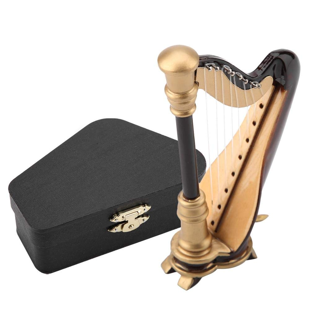 Arpa Struemtno Musicale Replica in legno per arpa in miniatura con scatola Ornamenti del modello di strumento Regali di Natale Compleanno