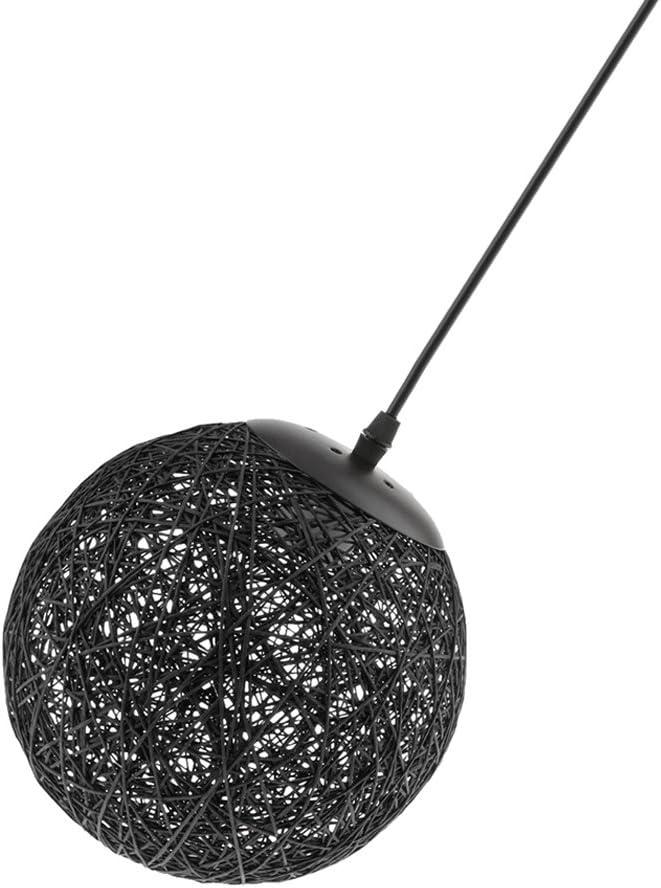 Gazechimp 20CM Lámpara de Techo Diseño con Bola de Tela Tejida de Mimbre de Hierro + Bambú Rattan Accesorio Decorativo de Cafetería de Hogar - negro
