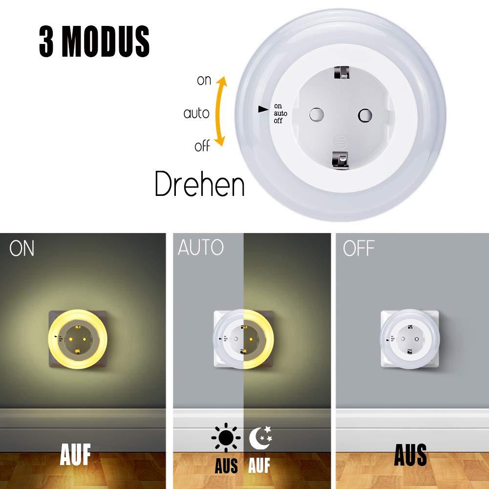 Luz de noche Enchufe con Sensor Crepuscular,Emotionlite LED Lámpara de noche Niños protegen,Auto/ON/OFF con Sensor Crepuscular Blanco cálido 2700K (3 ...