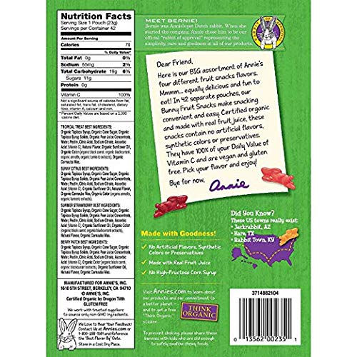 Annie's Organic Bunny Fruit Snacks, Variety Pack, 0.8 oz Each 42 Pouches