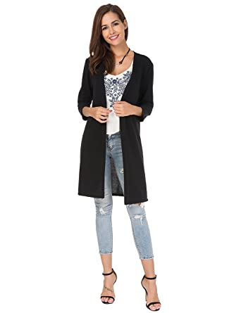 23362b9704 Womens Open Front Long Cardigan 3 4 Sleeve Knit Shirt Long Sweaters Loose  Shirts at Amazon Women s Clothing store