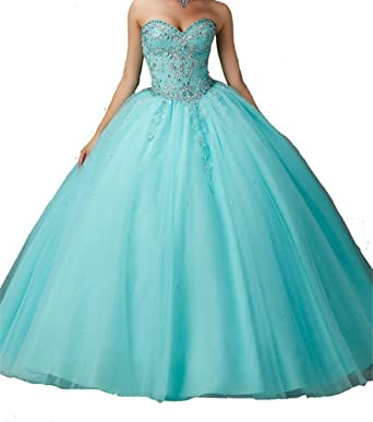 HZCQ Womens Sweet 16 Beaded Vestidos 15 Ball Gown Quinceanera Dresses Aqua 2