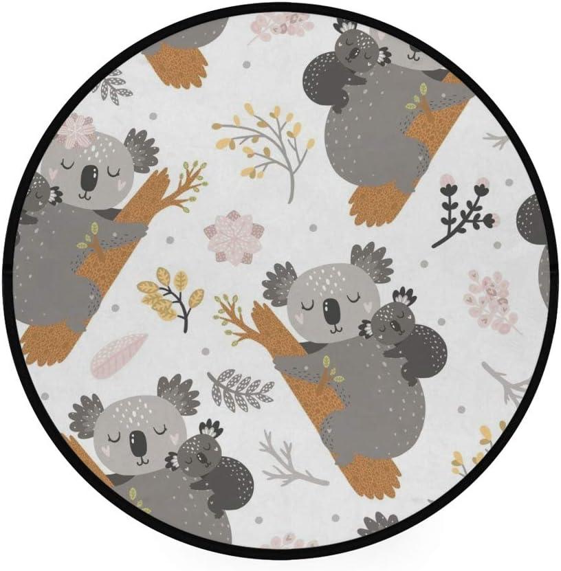 Orediy - Alfombra redonda de espuma suave de 92 cm, diseño de koala mamá, bebé, ligera, para sala de estar, dormitorio