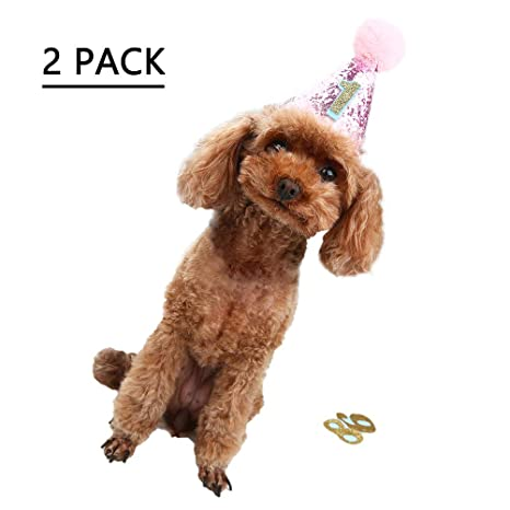Amazon OFPUPPY 2 Pcs Pink Dog Birthday Hats With 0 9 Figures