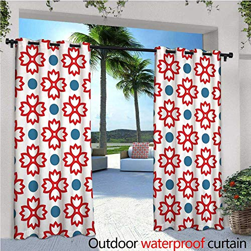 - cobeDecor Floral Patio Curtains Abstract European Traditional Polka Dots Symmetrical Natural Inspiration Outdoor Curtain for Patio,Outdoor Patio Curtains W72 x L96 Slate Blue Red White