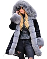 Roiii Women Casual Vintage Faux Fur Hooded Grey Warm Thick Ladies Jacket Coat Size S-3XL