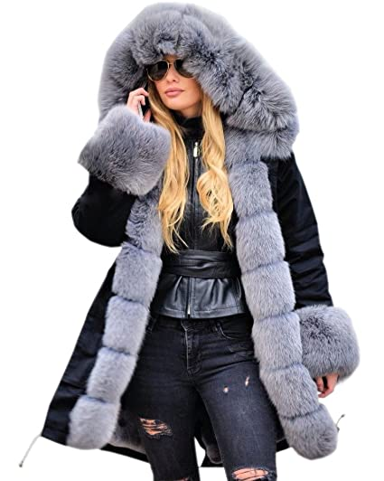 f5c41748d0f1 Roiii Women Winter Thicken Light Grey Thicken Faux Fur Parka Jacket Coat  Over Coat Hooded  Amazon.co.uk  Clothing