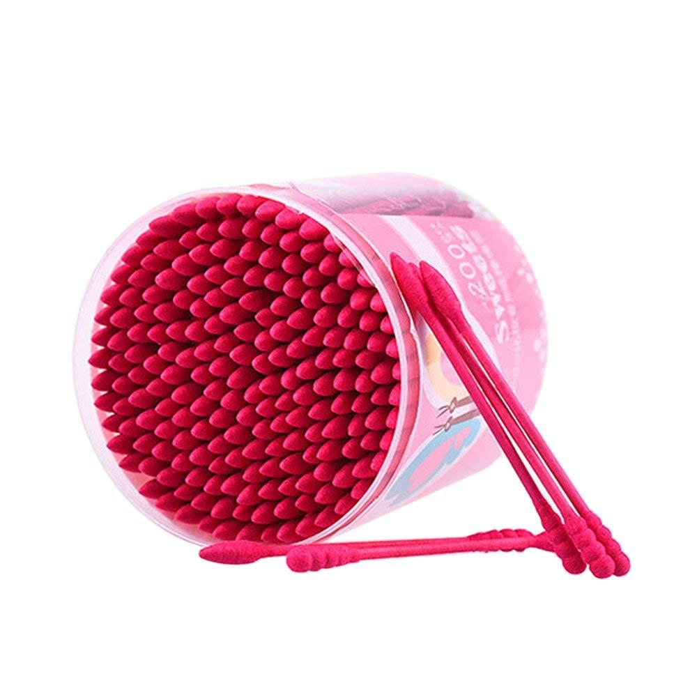 da nanda 200 pz/scatola tampone di cotone monouso doppio capo finito tamponi di cotone trucco strumento di cosmetici germogli di cotone strumenti orecchio pulito - rosa Erduo