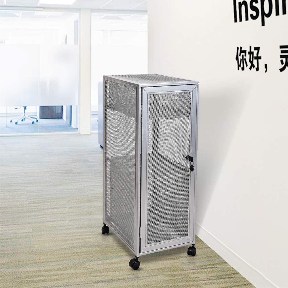 Lock Cabinet Storage Open mesh Rolling Carts with Drawers for Home/&Office,Black