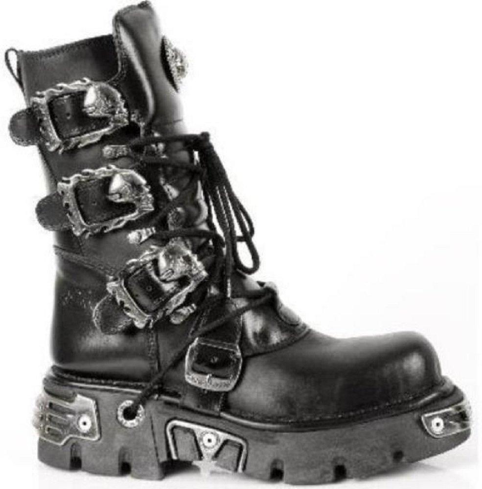 NEWROCK New Rock Newrock Metallic Black Leather Stunning Biker Gothic Unisex Boots - M.391-S1 B01L1Y2FQ0 9 M US|Black