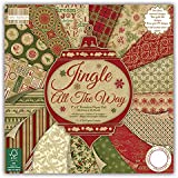 Trimcraft Jingle All The Way Bastelpapier, hohe Qualität, verschiedene Weihnachtsdesigns, enthält 48 Bögen (je 20 x 20 cm)