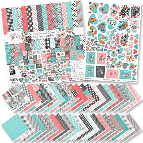 Paper & Sticker Kit – Be Mine – Valentines Day – 20 Double-Sided 12×12 Papers with 39 Designs & 1 8X12 Sticker Sheet…