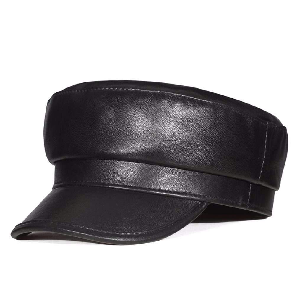 Thundertechs Men's Women's Autumn and Winter Leather Hats British Caps Caps Flat Caps Casual Caps (Color : Black, Size : 22.44inch)