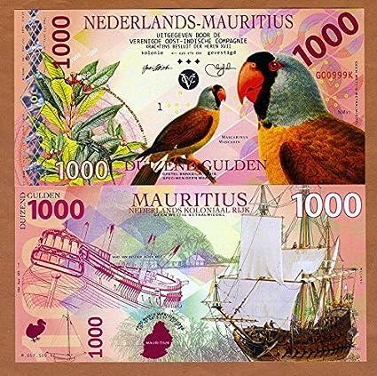 UNC /> Mascarene Parrot 2016 Private POLYMER 1000 Gulden Netherlands Mauritius