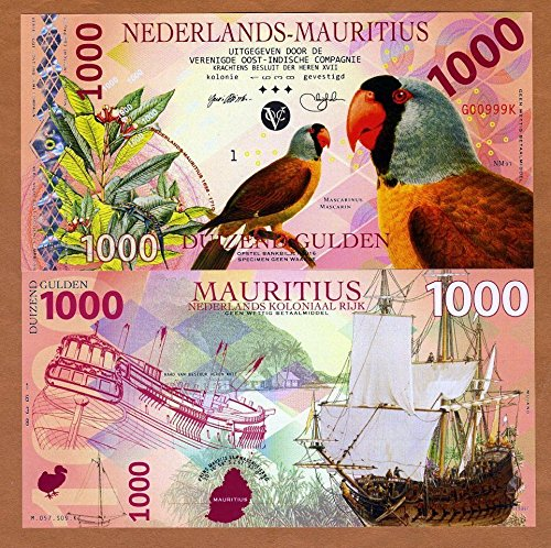 Nice1159 1000 Gulden Netherlands Mauritius, banknotes 2016 Private Fantasy Polymer, Mascarene Parrot - Rare