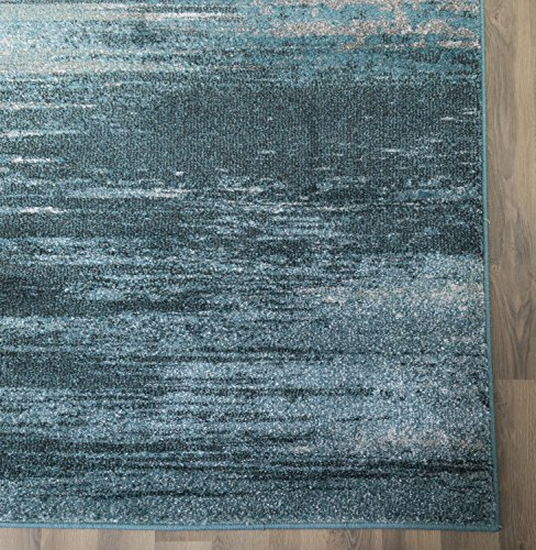 "Teal & Gray Rug Modern/Contemporary Design 7' 10"" X 10' 7"" (8x11) Soft Striped Carpet for Living Room / Bedroom"