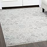 Christian Siriano Designer Area Rugs: Brooksville 6738-100 Ivory Contemporary Floral Rug: 7' 9'' x 10' 2'' Rectangle