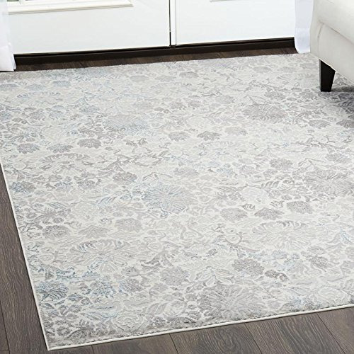 Christian Siriano Designer Area Rugs: Brooksville 6738-100 Ivory Contemporary Floral Rug: 7' 9'' x 10' 2'' Rectangle by Home Dynamix