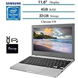 """Newest Samsung Chromebook 11.6"""" Laptop Computer for Business Student, Intel Celeron N4000, 4GB RAM, 32GB Storage, up to 12.5 Hours Battery Life, WiFi, Chrome OS w/ HESVAP Bundle"""