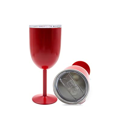 493263af6f3 All Occasions - 2019 Stainless Steel Wine Glass With Lid And Straw 10 oz,  Double Walled Design, Insulated Tumbler Keeps Cold And Hot (Red)