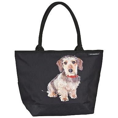 9e1a48b324b74 VON LILIENFELD Tasche Damen Einkaufstasche Shopper Bedruckt Motiv Hund  Rauhhaardackel