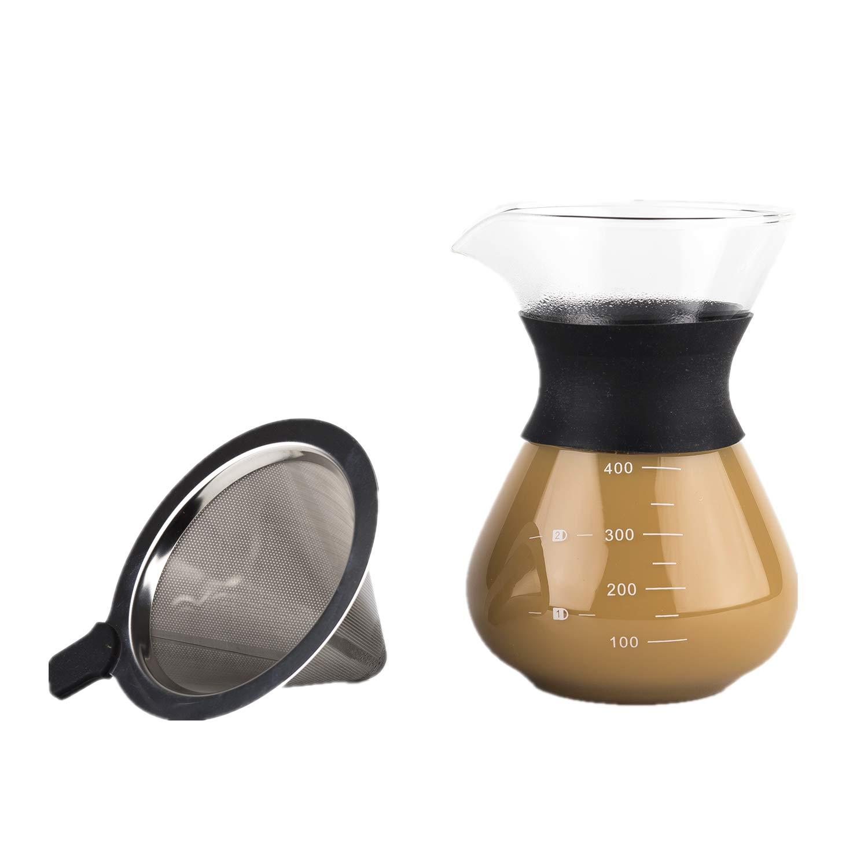 DOKIO Pour Over Coffee Maker 再利用可能なステンレススチールメッシュガラスフィルター コーヒードリッパー 400ml 6.8オンス   B07D3M5KH4