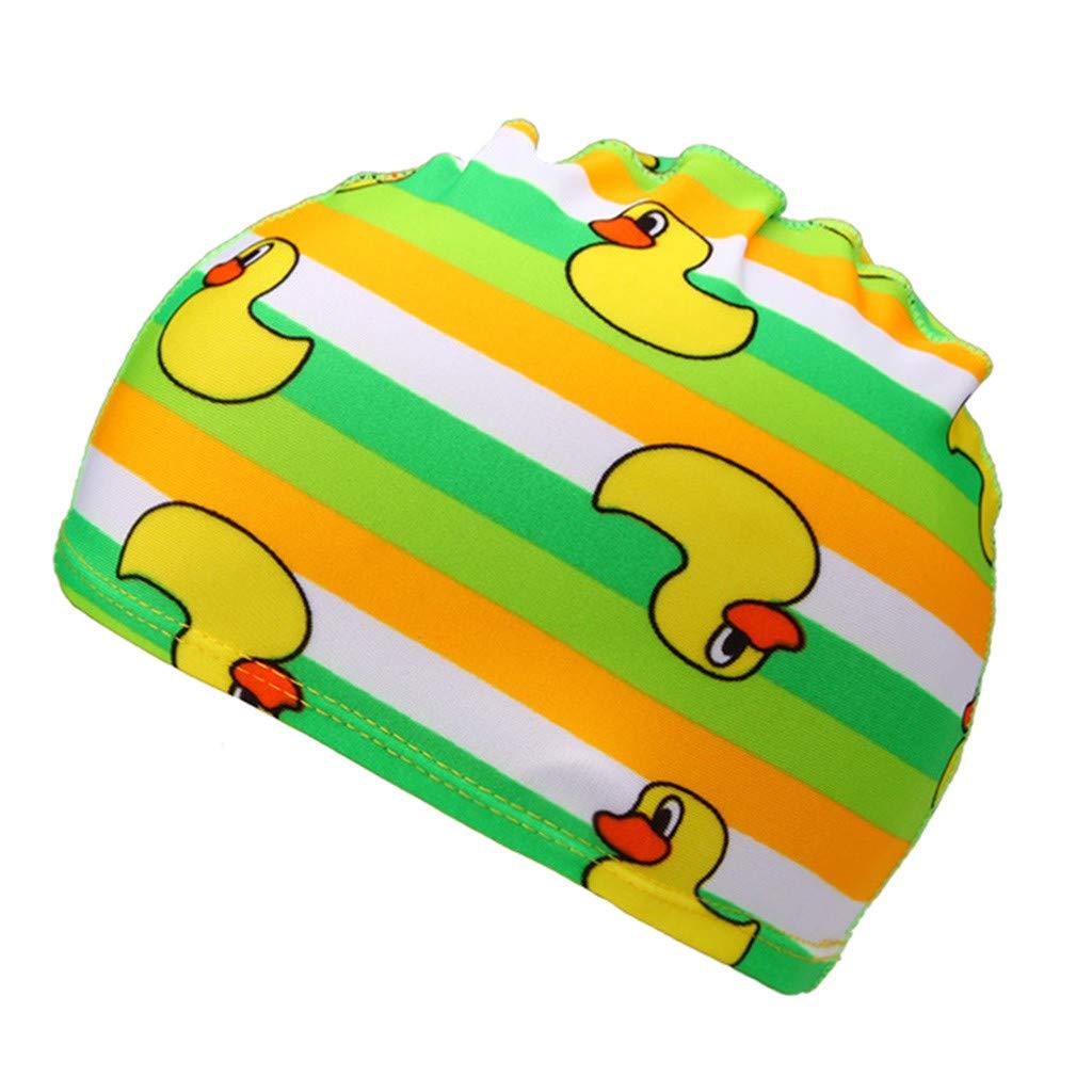 ❤️ Mealeaf ❤️ Children Kids Boy Girl Cartoon Print Swim Waterproof Swimming Cap Sports Hat(Multicolor,A)