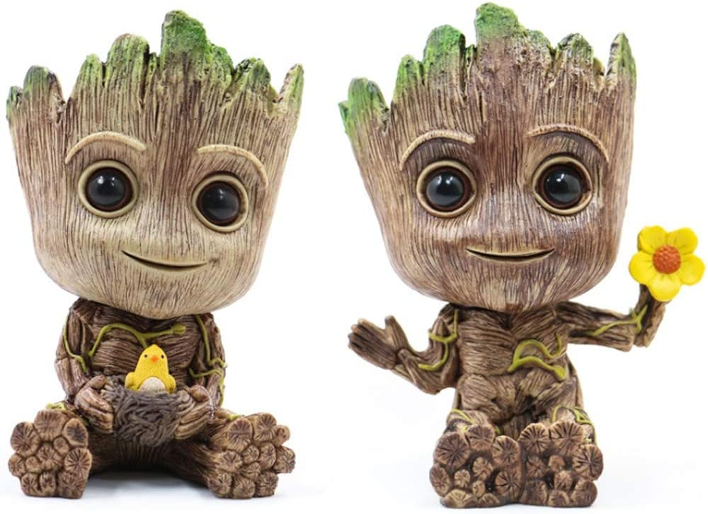 Leegicst Guardians of The Galaxy Groot Tree Man Flower Pot or Pens Holder for a Tiny Succulents Plants and Best Christmas Gift for Kids C