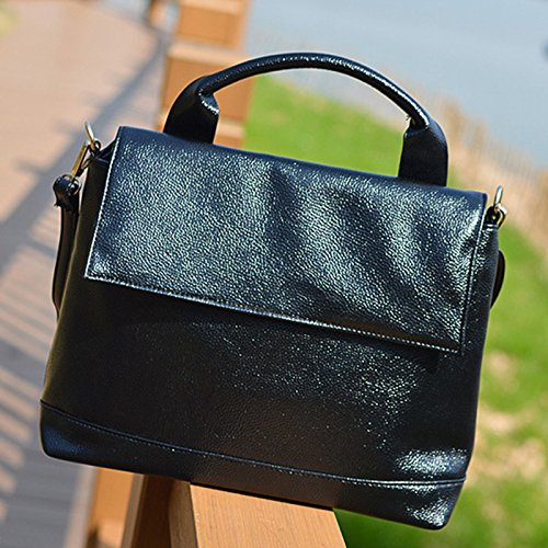 AASSDDFF Mujeres Messenger Bag High Quality Pu Mujeres Shoulder Crossbody Bag Casual Mujeres bolso de gran tamaño,Negro rojo