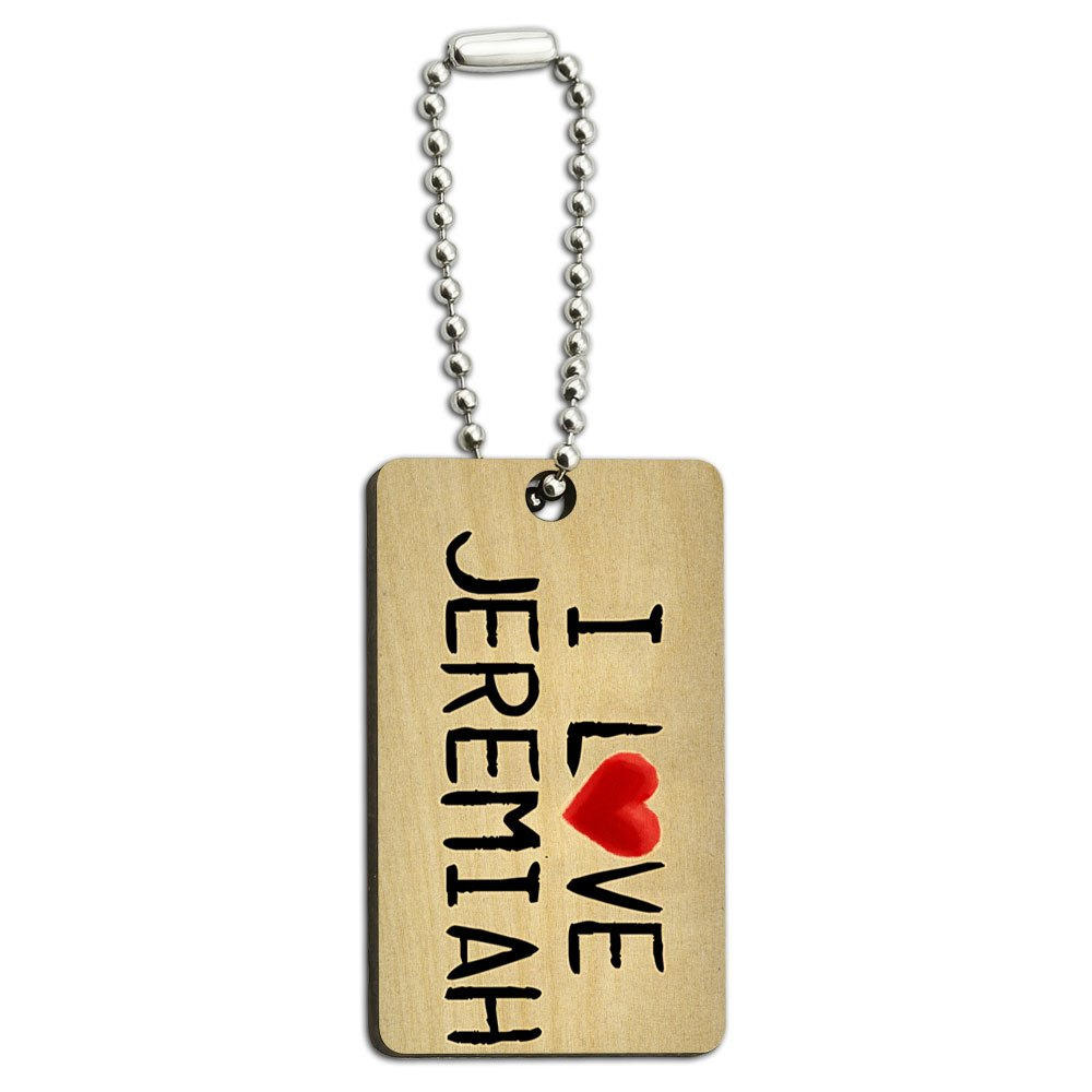 I Love Jeremiah Written on Paper Wood Wooden Rectangle Key Chain
