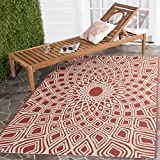 Cheap Safavieh Courtyard Collection CY6616-23821 Red and Beige Indoor/Outdoor Square Area Rug (6'7″ Square)