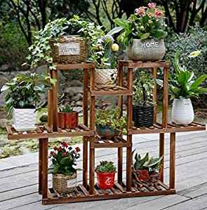 Multi-storey Potted Plant Display Stand Wooden Plant Flower Stand Balcony Living Room Outdoor Flower Stand ( Color : A )