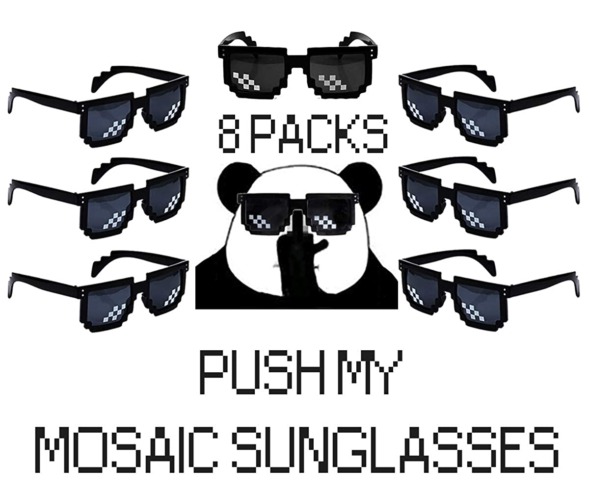 66d9cdf3da Amazon.com  8 Pack Pixelated Party Sunglasses Thug Life Mosaic Gamer MLG  Photo Props Glasses for Adults Teens (Square)  Clothing