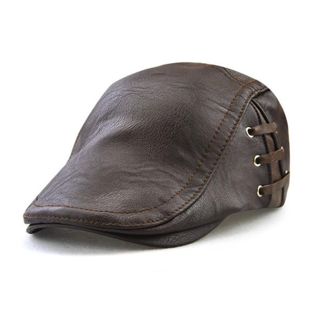 759e8af79918e HSRT Men Retro PU Leather Lace-up Beret Caps Casual Adjustable Flat Golf  Cabbie Hats Newsboy Hat Dark Coffee at Amazon Men s Clothing store