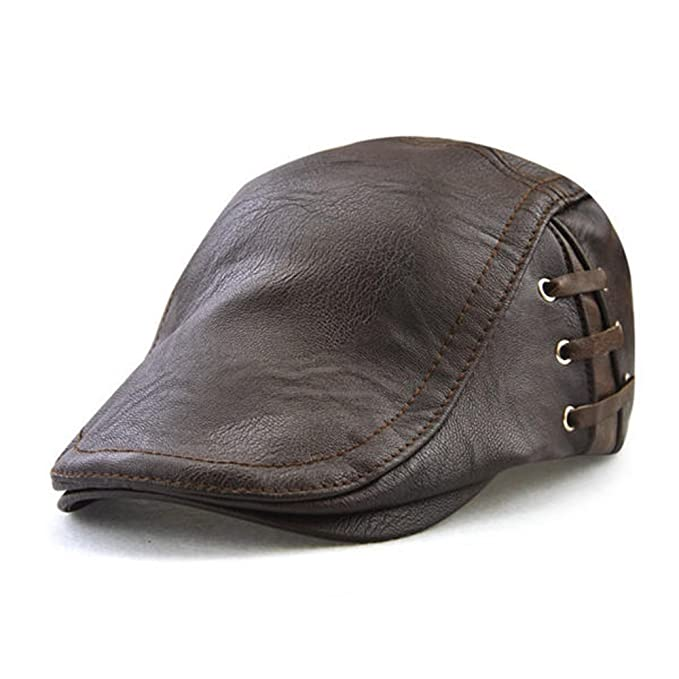 1245e0418e3 HSRT Men Retro PU Leather Lace-up Beret Caps Casual Adjustable Flat Golf  Cabbie Hats Newsboy Hat Dark Coffee at Amazon Men s Clothing store