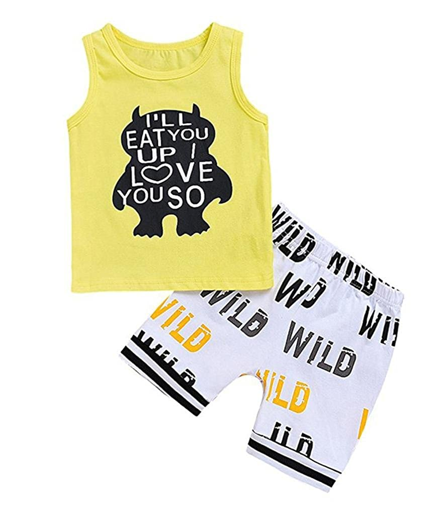 7a867f3b1aea Amazon.com  Moonker Newborn Infant Baby Boy Girl Summer Outfit Cartoon Letter  Print Tank Tops Vest and Shorts Clothes Sets 0-2T  Clothing