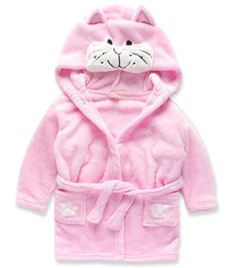 BELLE-LILI Children's Animal Hooded Bath Robe Princess Cat (1T-2T, Pink Cat)