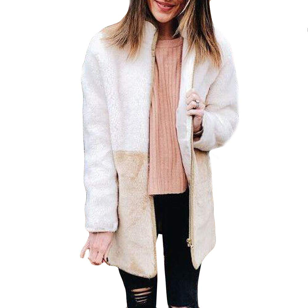 ICE Cream Womens Fashion Plush Autumn Winter Long Sleeve Keep Warm Fashion Long Coat