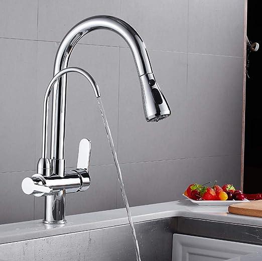 MBYW Grifo de cocina moderno de acero inoxidable para fregadero de cocina con boquilla de bombeo de cobre de alta presión, purificador de agua recto, giratorio de 360 ...