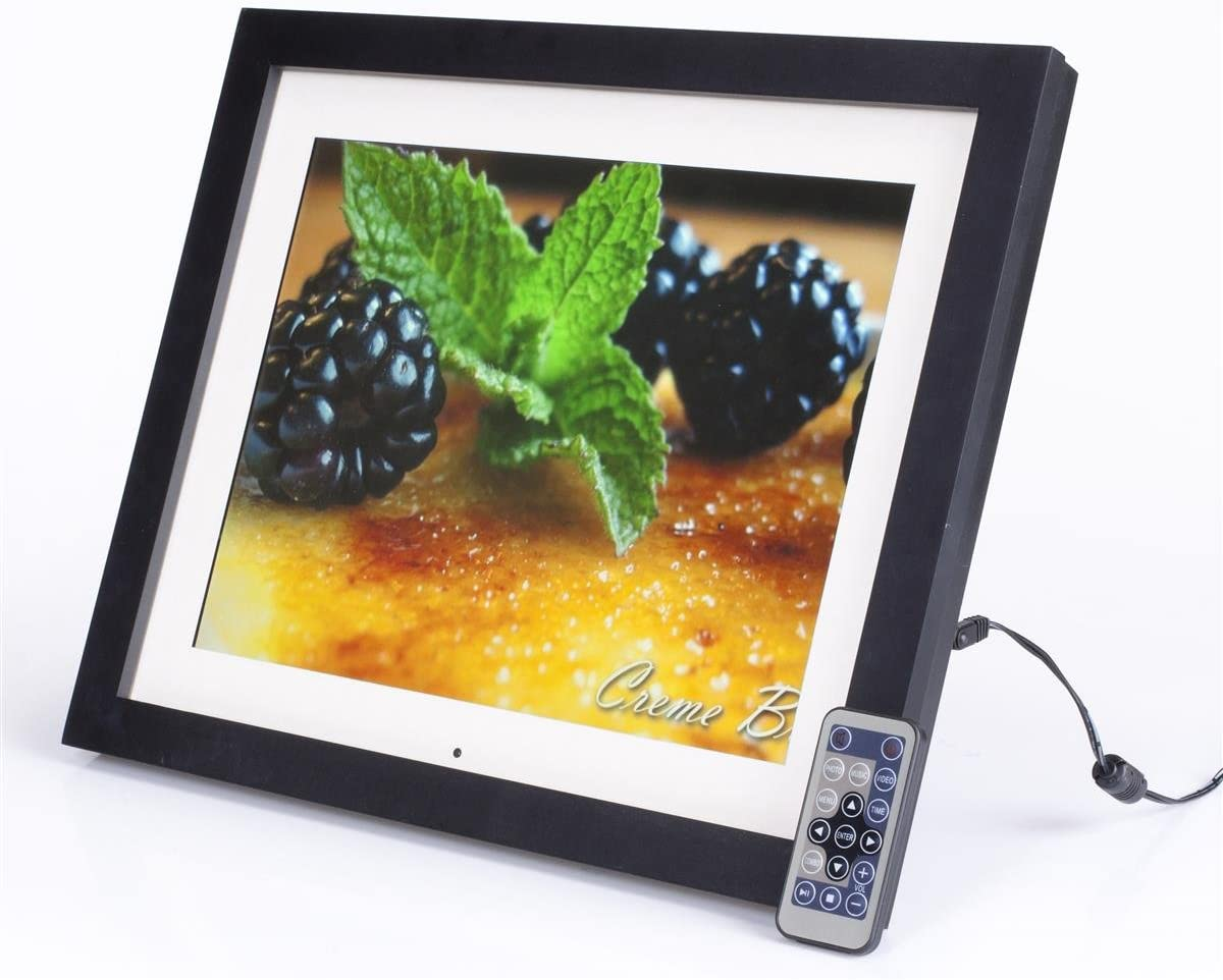15 Digital Photo Frame with Mat, LCD Screen with 4 3 Aspect Ratio for Slideshow Presentations, Built-in Speakers, 2 GB of Memory, Easel Back for Tabletop Use – Authentic Wood Frame with Matte Black Finish