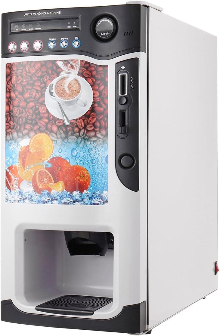 Bureze Máquina de café expendedora con 3 selecciones de Bebidas Calientes y 3 Bebidas frías aceptador de Monedas