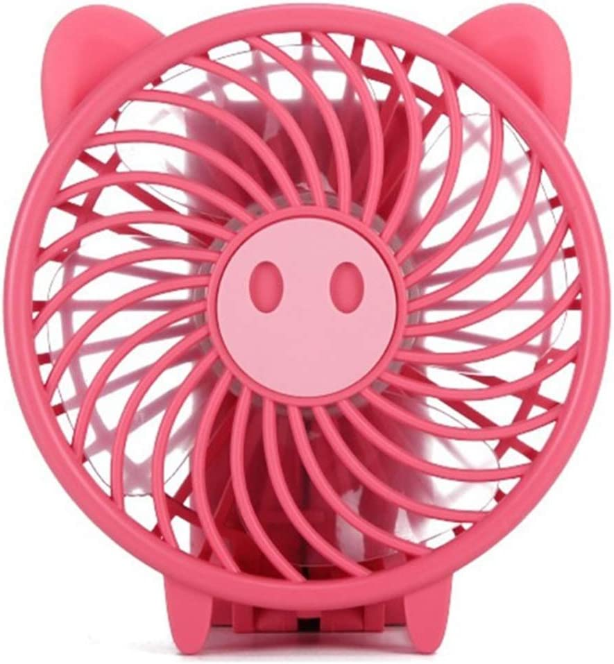 Outdoor Travel Office Color : Purple USB Fans USB Fan Small Pig Style Electric Fan Rechargeable Student Handheld Portable Mute Mini Fan for Home