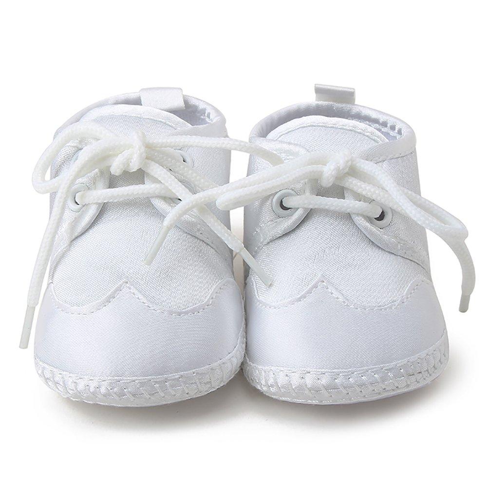 a09dbce1a5557 DELEBAO Scarpe per Battesimo o Un Matrimonio Scarpe Primi Passi Bambini  Bianco Sole Bambino Scarpe Stringate ingrandisci