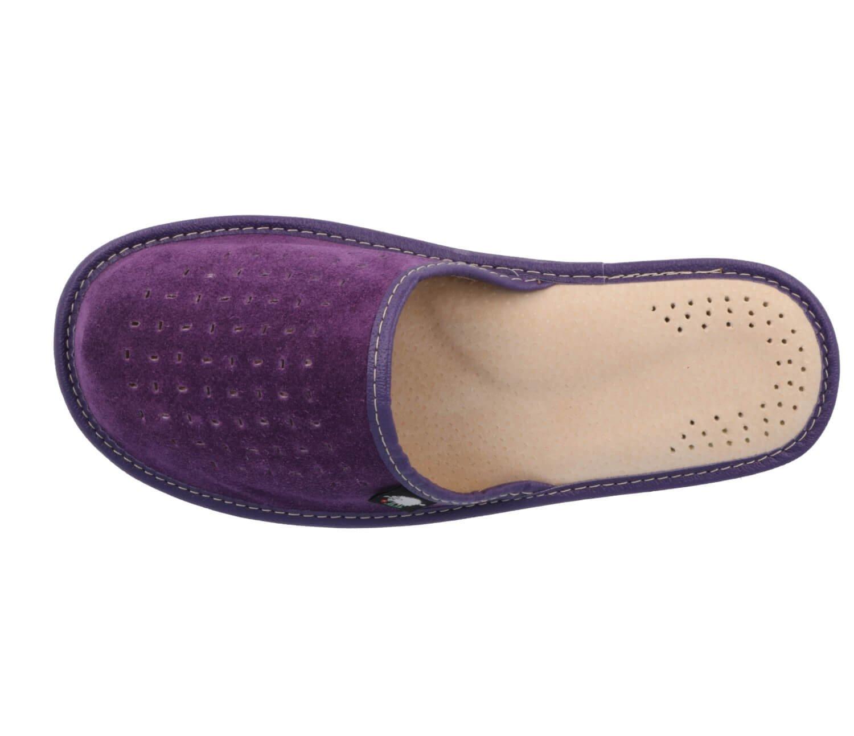 Suede Womens Slippers with Orthopeadic Insole, Size 4,5,6,7,8 UK (6 UK/39 EU, Purple)
