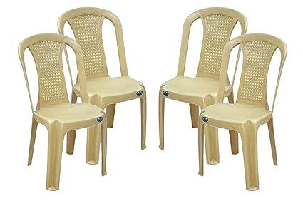 Nilkamal Plastic Armless Chair Beige 39x47x89cm Set Of 4 Amazon