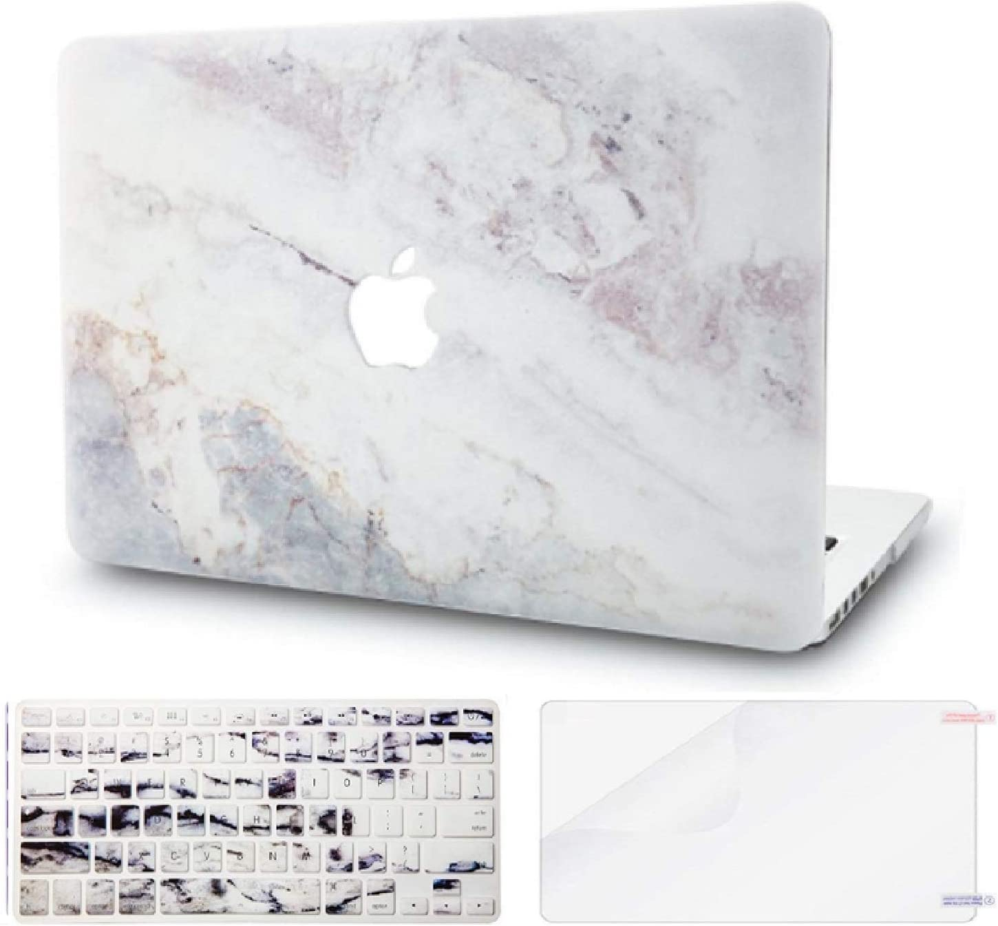 "KECC Laptop Case for MacBook Air 13"" Retina (2020/2019/2018, Touch ID) w/Keyboard Cover + Screen Protector Plastic Hard Shell A1932 3 in 1 Bundle (White Marble 2)"